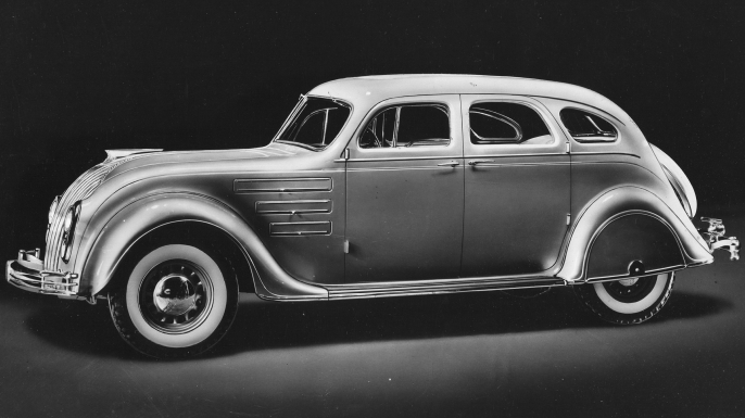 Promotional portrait of the Chrysler Airflow, 1934. (Credit: PhotoQuest/Getty Images)