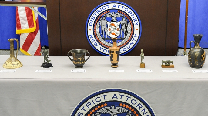 Seven stolen ancient artifacts that were recovered by authorities, at the Manhattan District Attorney's Office, before heading back to their homeland in Italy after authorities said they tracked down the stolen items in New York City. (Credit: Laura J. Badger/Manhattan District Attorney's Office via AP)