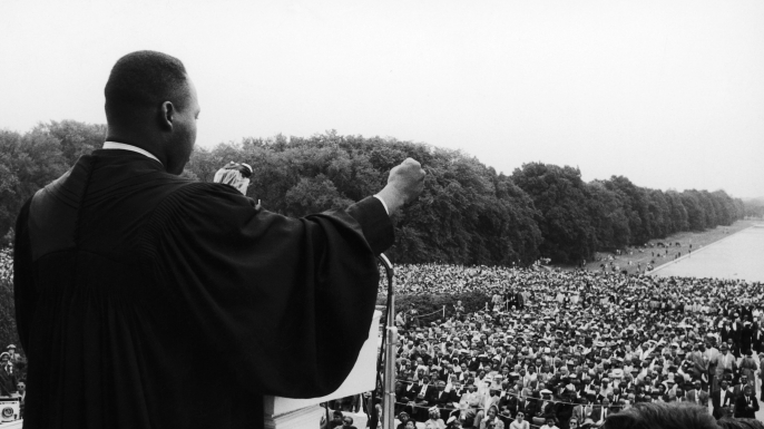 Dr. Martin Luther King, Jr. addresses the crowd at the Prayer Pilgrimage for Freedom on May 17, 1957. (Credit: Moneta Sleet, Jr./Ebony Collection via AP Images)
