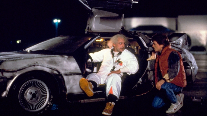 Christopher Lloyd and Michael J. Fox in Back to the Future. (Credit: AF Archive/Alamy Stock Photo)