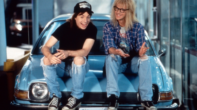 Mike Myers and Dana Carvey as Wayne and Garth from Wayne's World. (Credit: United Archives GmbH/Alamy Stock Photo)