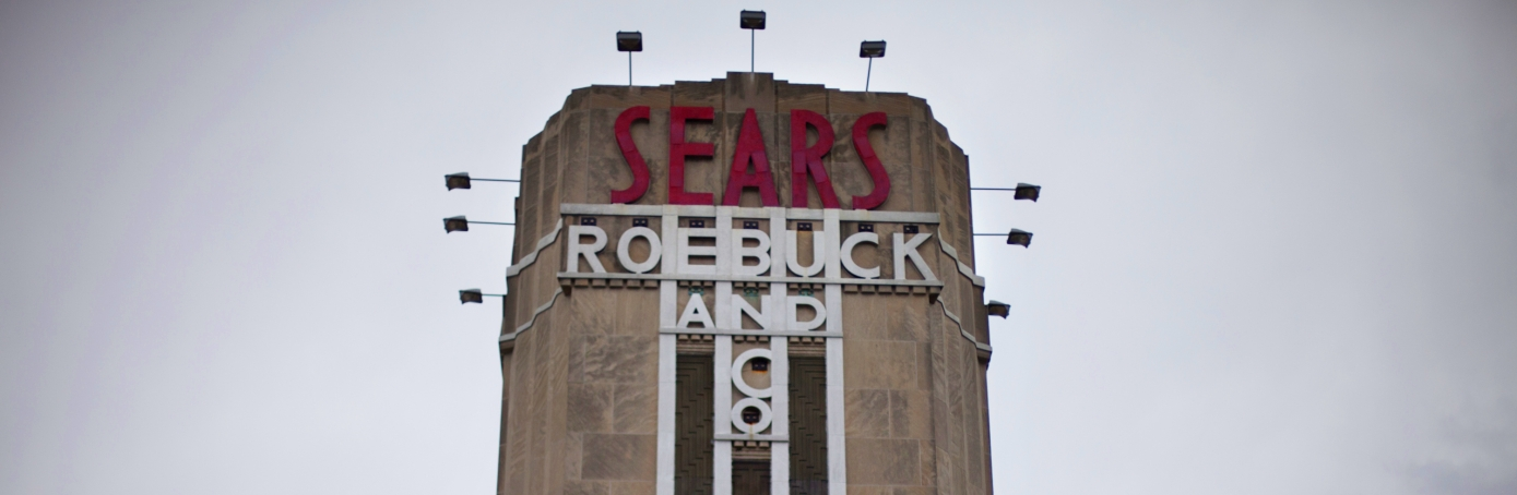 Sears Roebuck And Company signage displayed outside of a Sears Holdings Corp. store in Brooklyn, NY. (Credit: Victor J. Blue/Bloomberg via Getty Images)