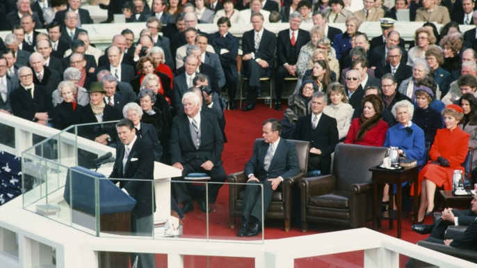 Ronald Reagan giving a speech during his first inauguration,1981. (Credit: NBC NewsWire/Getty Images)
