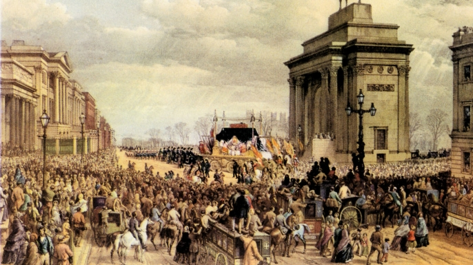 Funeral of Arthur Wellesley, 1st Duke of Wellington, at St. Paul's Cathedral, 1852. (Credit: Culture Club/Getty Images)
