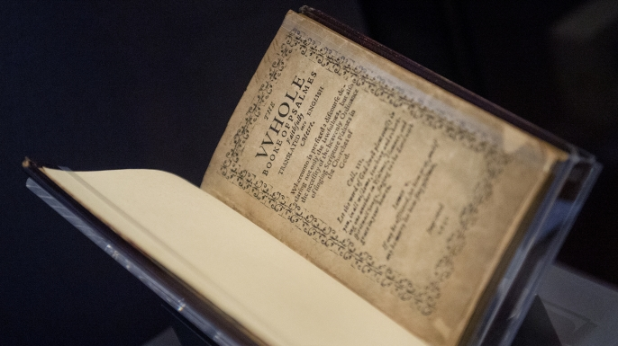A printing of the Bay Psalm Book owned by David Rubenstein on display at the Library of Congress Jefferson Building. (Credit: Tom Williams/CQ Roll Call)