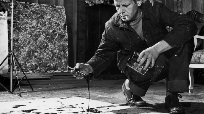 Artist Jackson Pollock working in his studio. (Credit: Martha Holmes/The LIFE Picture Collection/Getty Images)