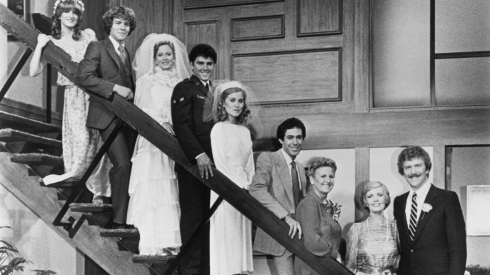 "TV's Brady Bunch family as they appeared in the original series and the 1981 spinoff, ""The Brady Brides."" ("