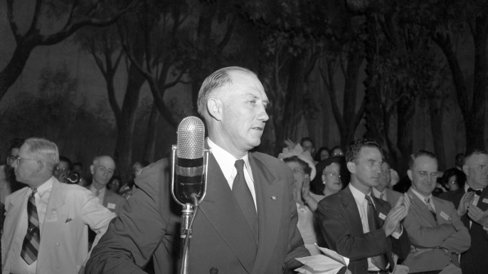 Govenor Strom Thurmond of South Carolina, was nominated as States' Right candidate at the rump convention held in Birmingham on by southern recalcitrants. The Southerners took this drastic action after the Democratic convention added President Truman's civil rights program of its party platform. (Credit: Bettmann/Getty Images)