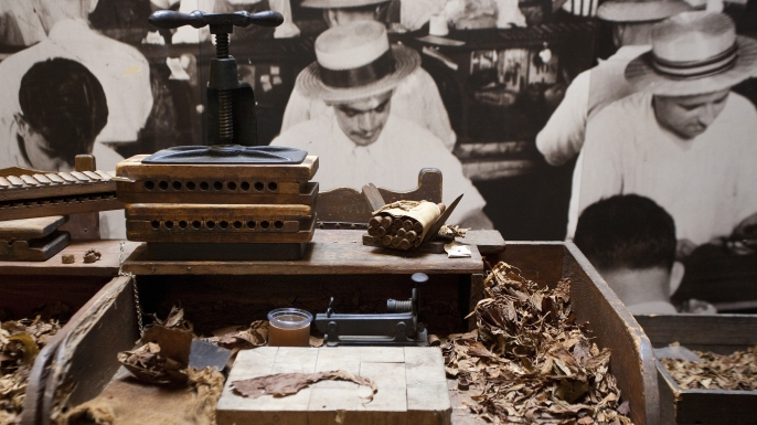 Details of a cigar-making exhibit at the Ybor City Museum.  (Credit: Franken/ullstein bild via Getty Images)