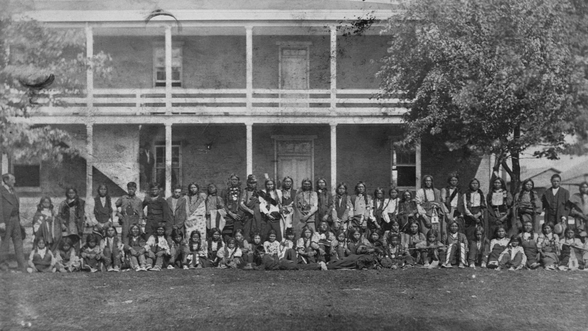 Sioux boys arrive at the Carlisle School, October 5, 1879. (Credit: Corbis/Getty Images)