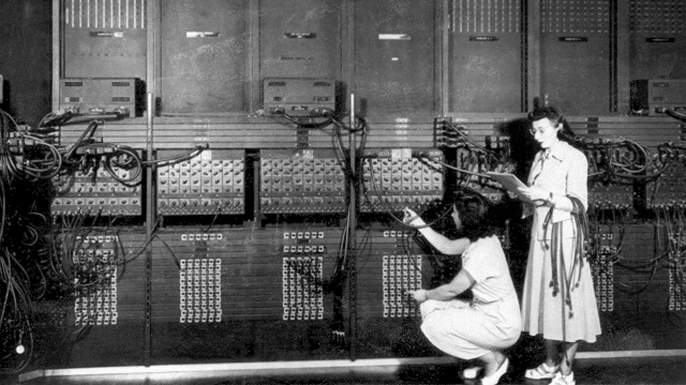 The ENIAC, the first electronic computer, being developed at the University of Pennsylvania, 1946.  (Credit: Apic/Getty Images)