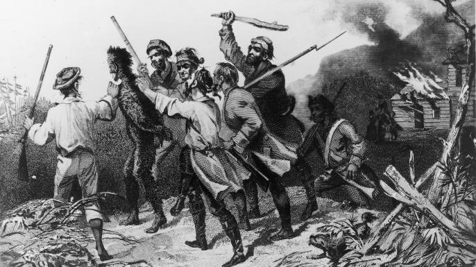 The Whiskey Rebellion was a popular uprising after the government, during George Washington's presidency, decided to tax whiskey to pay off the national debt. Rebel's would often tar and feather tax collectors. (Credit: Fotosearch/Getty Images).