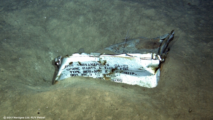 Piece of the USS Indianapolis discovered by the expedition crew of Paul Allen's research vessel R/V Petrel. (Credit: Paul Allen)
