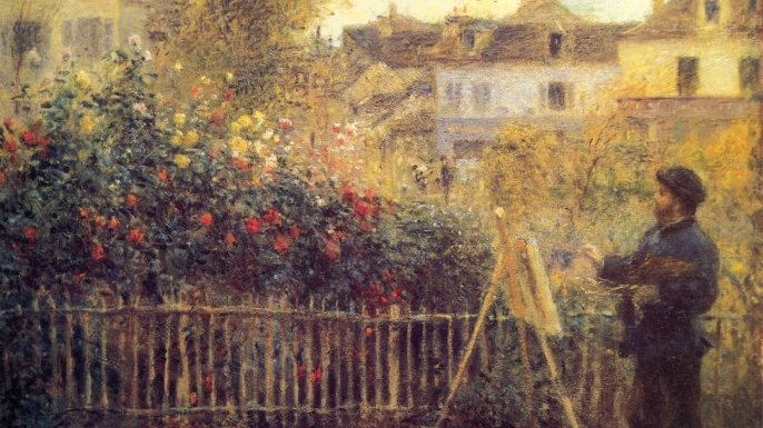 Monet painting in his garden in Argenteuil by Pierre-Auguste Renoir.