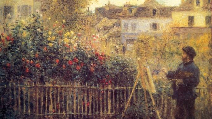 Monet painting in his garden in Argenteuil by Pierre-Auguste Renoir.