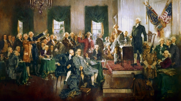 The signing of the Constitution of the United States, 1787.