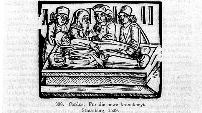 Excerpt from a book by German author Euricius Cordus (1486-1535) about a new deadly illness, what is now known as sweating sickness, circa 1529. (Credit: Wellcome Library/CC BY 4.0)