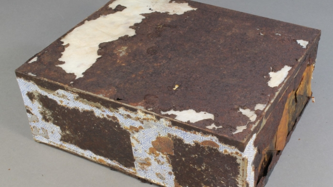 Fruit cake after conservation treatment. (Credit: Antarctic Heritage Trust)