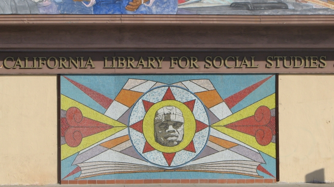 Artwork outside the library. (Courtesy of the Southern California Library)