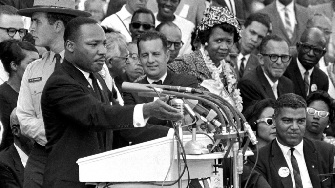 "Dr. Martin Luther King Jr. delivers his ""I Have a Dream"" speech in Washington, D.C. (Credit: AP/REX/Shutterstock)"