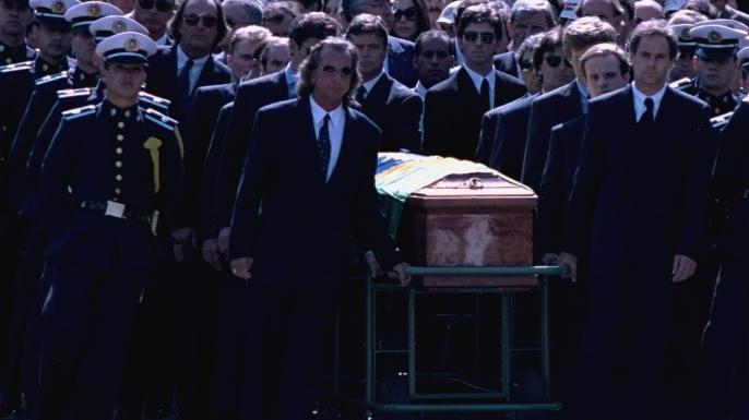 Ayrton Senna's funeral in Sao Paulo, Brazil. (Credit: Photo by Altamiro Nunes/AP/REX/Shutterstock)