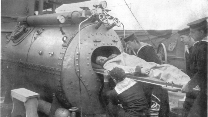 "A recompression chamber was also known as the ""diver's oven."" This was the first chamber used during the Laurentic operation and would later be replaced by larger models. (Credit: Journal of Hygiene 25, no. 1 (1926), courtesy of Cambridge University Press)"