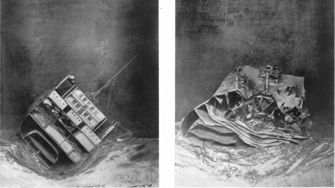 These illustrations show the Laurentic as the divers originally found it (left) and what it looked like after the storms. (Credit: Journal of Hygiene 25, no. 1 (1926), courtesy of Cambridge University Press)