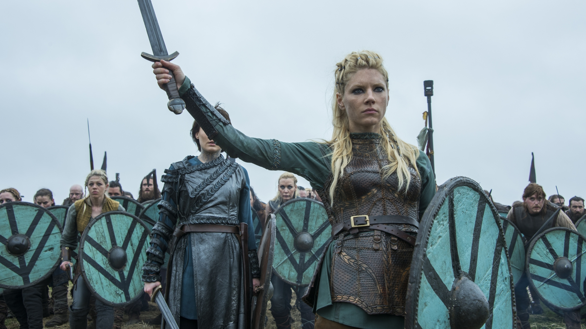 Lagertha, portrayed by Katheryn Winnick, leading a group of Viking warriors in Season 4 of 'Vikings'. (Credit: Jonathan Hession)