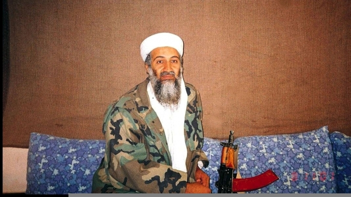 Osama bin Laden during an interview by a Pakistani journalist in 2001. (