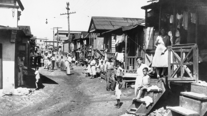 """La Perla,"" one of the worst slums in San Juan, and which was thoroughly inspected by Mrs. Franklin D. Roosevelt touring the last phase of her economic survey in the West Indies. (Credit: Bettmann/Getty Images)"