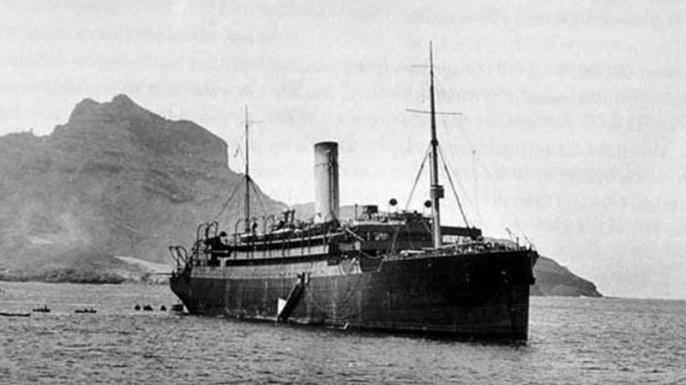 HMS Laurentic, an armed British merchant cruiser.