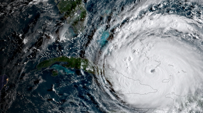 Satellite image of Hurricane Irma along the coast of Cuba as it heads toward South Florida as a Category 5 storm. (Credit: Planetpix/Alamy Live News)