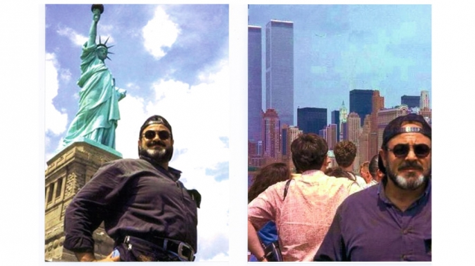 While working undercover, Salem did surveillance of potential bombing targets, like the Statue of Liberty, with members of the terrorist cell.  According to Salem, one of the terrorists said to him, 'Brother, let me take your picture with the World Trade Center because it will not be here anymore.' (Courtesy of Emad Salem)