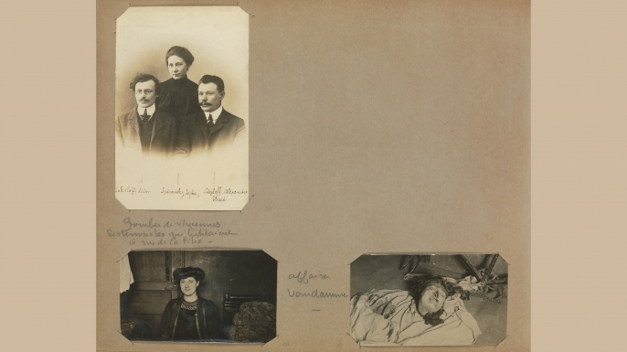 Bertillon sometimes juxtaposed photos of murder victims with images of them when they were living. (Credit: The Metropolitan Museum of Art)