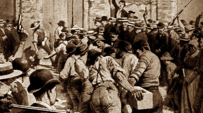 Italian rioters breaking into a Parish Prison, New Orleans, 1891. (Credit: World History Archive/Alamy Stock Photo)