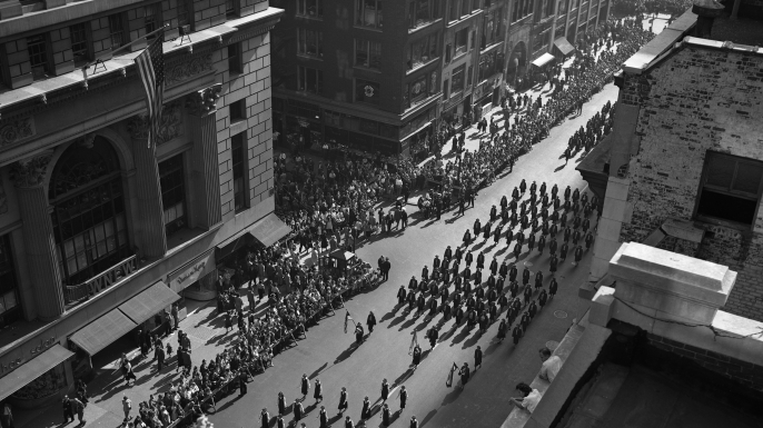 Columbus Day parade, October 12, 1949, New York City. (Credit: SuperStock/Getty Images)