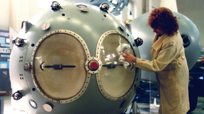 A replica of the first Soviet atomic bomb in a Russian Nuclear Weapon Museum. (Credit: Sovfoto/UIG via Getty Images)