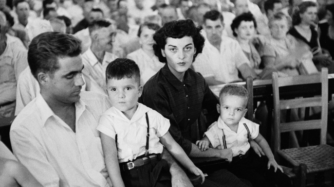 Carolyn Bryant Donham with her two sons and her husband, Roy Bryant, during his trial for the murder of 14-year-old Emmett Till. (Credit: Ed Clark/The LIFE Picture Collection/Getty Images)