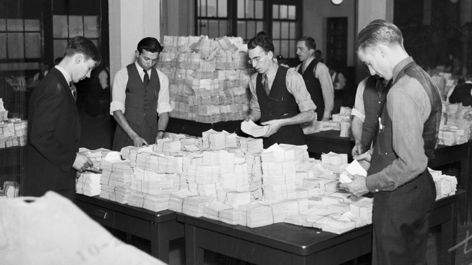 Federal employees working on Social Security records, c. 1935.