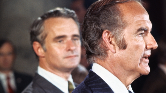 Senator George McGovern, Democratic presidential candidate, announcing that his running mate, Senator Thomas Eagleton has withdrawn as vice-presidential candidate. (Credit: Bettmann/Getty Images)