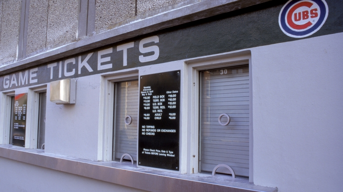 Closed ticket windows at Wrigley Field due to the cancelled 1994 World Series in Chicago, Illinois. (Credit: Jonathan Daniel/Getty Images)
