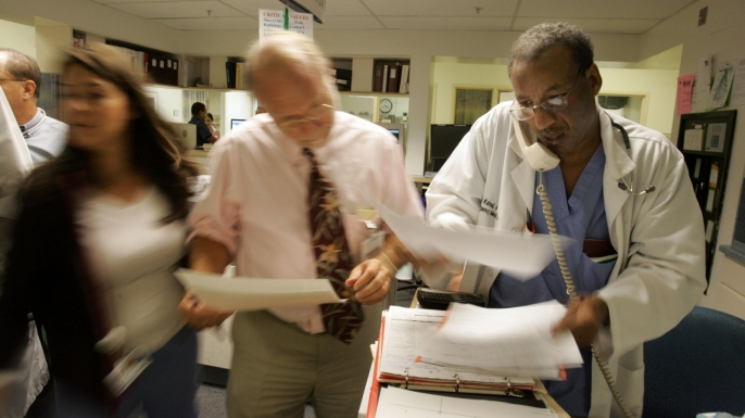 The busy emergency room at the Downey Regional Medical Center in Downey, California, 2006. (Credit: Gary Friedman/Los Angeles Times via Getty Images)