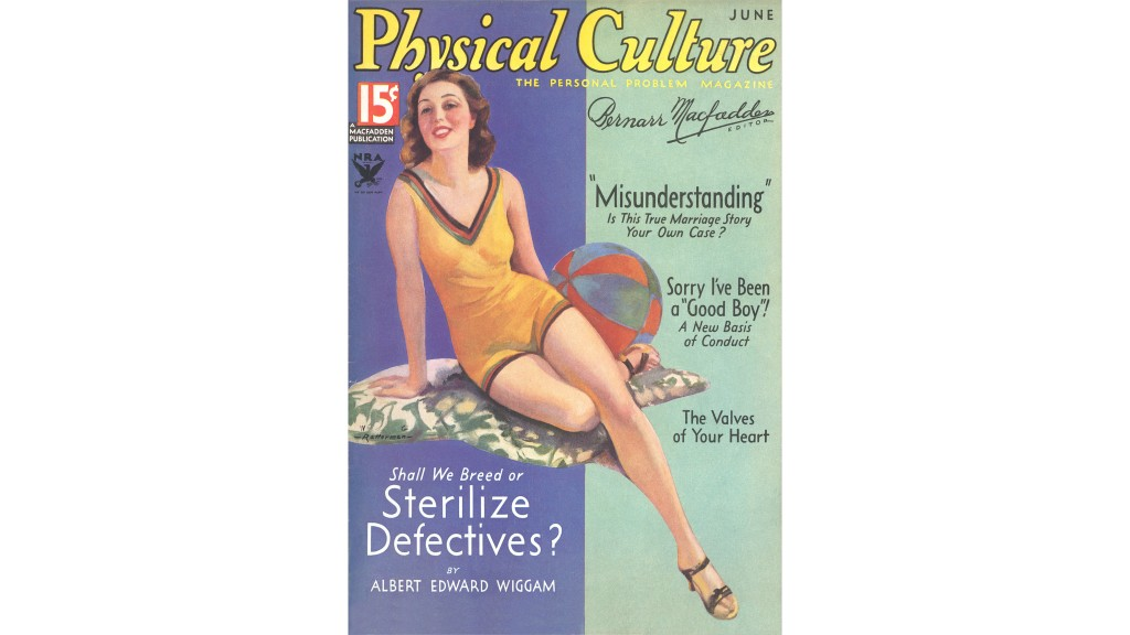 Cover of Physical Culture Magazine, June 1934, posing the question 'Shall We Breed or Sterilize Defectives?' The same line of thinking was applied by some U.S. lawmakers to poor people of color, and Mexican immigrants in particular, resulting in their forced sterilization. (Credit: Found Image Holdings/Corbis via Getty Images)