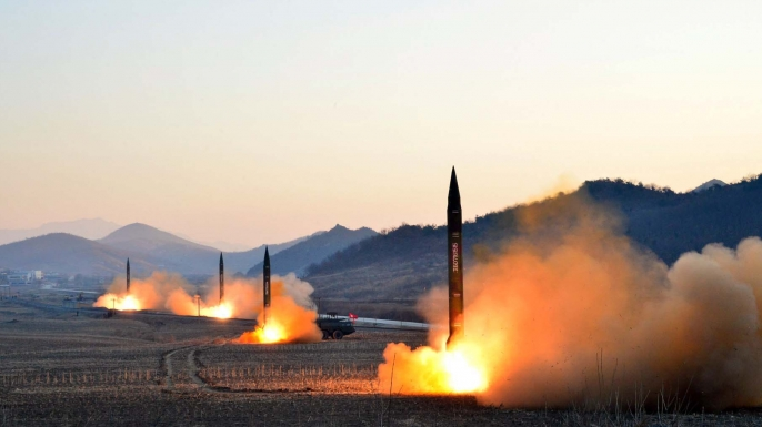 This undated picture released by North Korea's Korean Central News Agency via KNS on March 7, 2017 shows the launch of four ballistic missiles by the Korean People's Army during a military drill at an undisclosed location in North Korea. (Credit: STR/Getty Images)