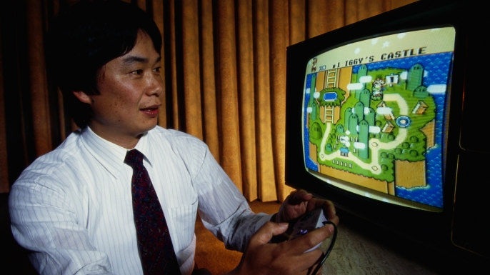 Shigeru Miyamoto, creator of Mario and other characters and video games for Nintendo, plays Super Mario World on a Nintendo Super NES System. (Photo by © Ralf-Finn Hestoft/CORBIS/Corbis via Getty Images)