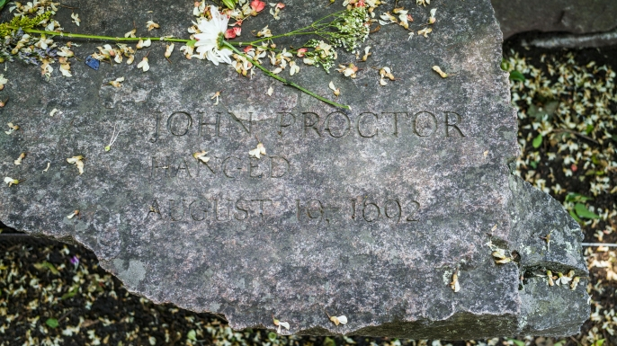 John Proctor's name at Salem Witch Trials Memorial in Salem, Massachusetts. (Credit: Mauritius Images/Alamy Stock Photo)