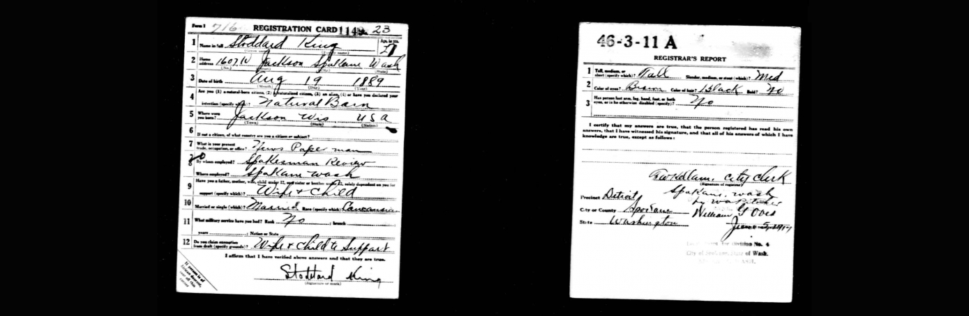 World War I Selective Service System Draft Registration Cards. This card belonged to Stoddard King, 1917. (Credit: The National Archives)