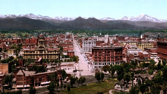 Panorama view of Denver, Colorado, in 1898.