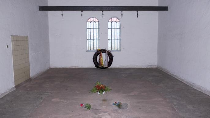 Memorial in the execution room at Ploetzensee Prison, Berlin, Germnay. (Credit: Siegfried Grassegger/imageBROKER/REX/Shutterstock)