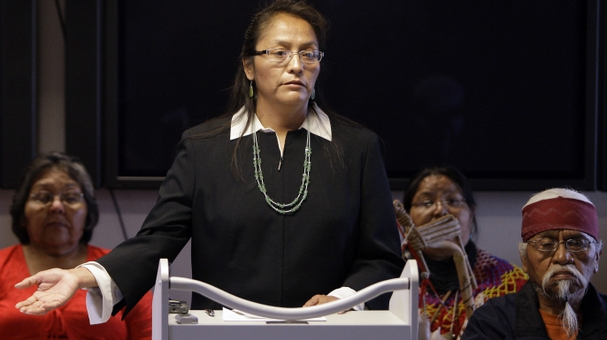 Carletta Tilous, of Arizona's Havasupai tribe, talks about giving blood during a news conference after settling a lawsuit alleging Arizona State University scientists of misusing blood samples meant for diabetes research to study schizophrenia, inbreeding and ancient population migration. (Credit: Ross D. Franklin/AP/REX/Shutterstock)